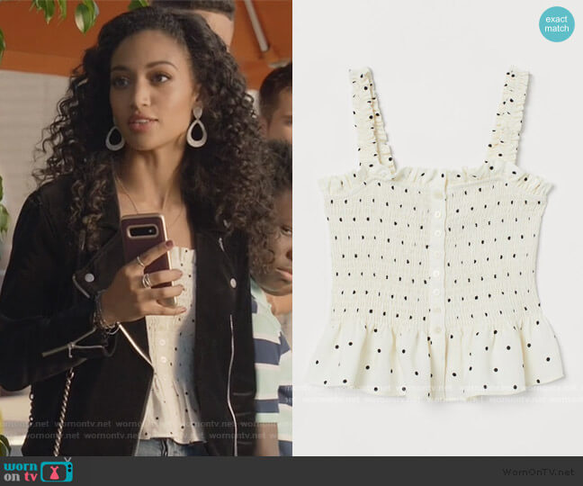 Smocked Linen-blend Top by H&M worn by Olivia Baker (Samantha Logan) on All American