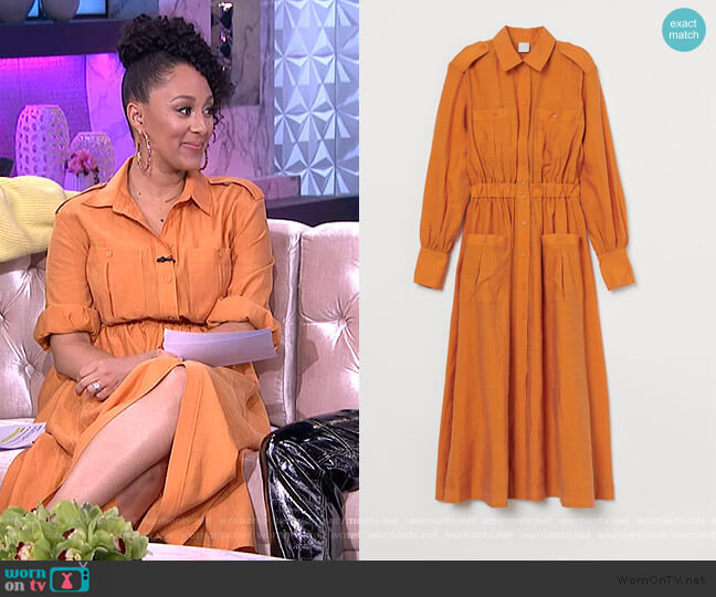Calf-length Shirt Dress by H&M worn by Tamera Mowry  on The Real