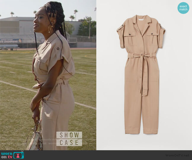 Jumpsuit with Tie Belt by H&M worn by Rochelle Mosley (Kayla Smith) on All American