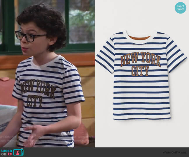 T-shirt with Printed Design by H&M worn by Matteo Silva (Raphael Alejandro) on Bunkd
