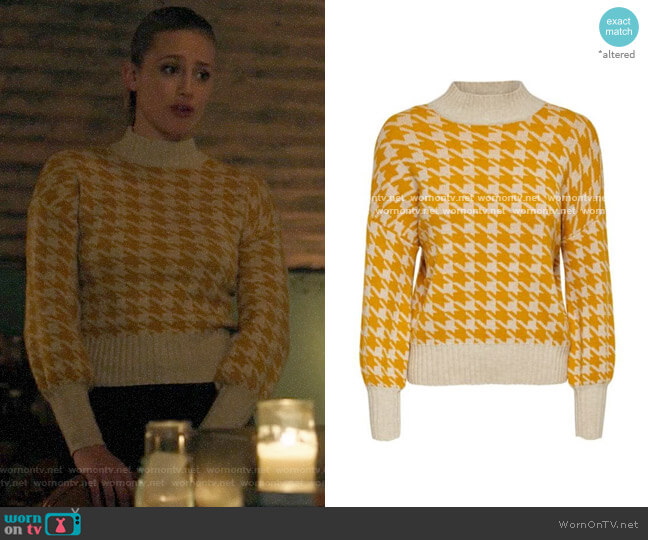 Only Houndstooth High Neck Sweater worn by Betty Cooper (Lili Reinhart) on Riverdale