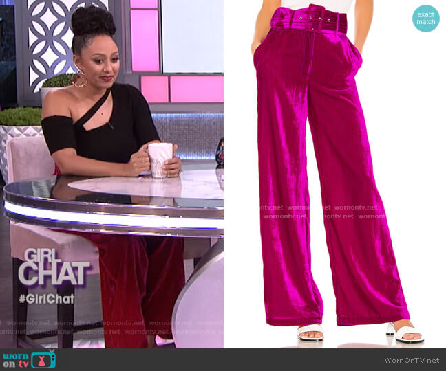 Mona Belted Pant by House of Harlow 1960 worn by Tamera Mowry  on The Real