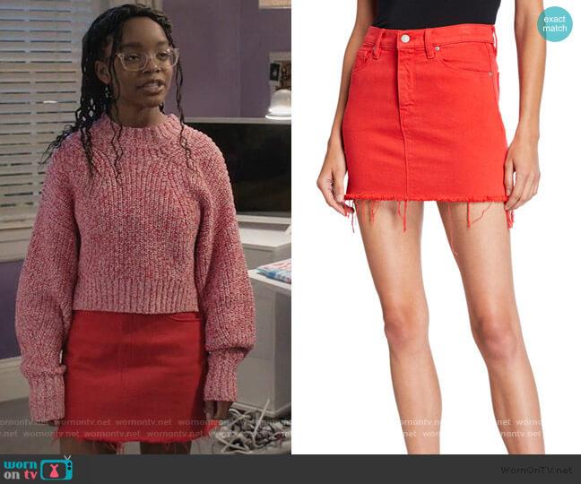 The Viper Camo Frayed Denim Mini Skirt by Hudson worn by Diane Johnson (Marsai Martin) on Blackish