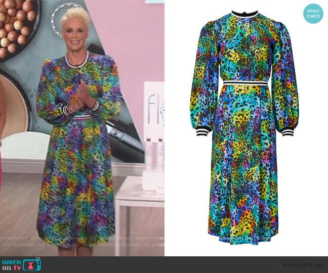 Leopard Casper Dress by Hunter Bell worn by Brigitte Nielsen on The Talk