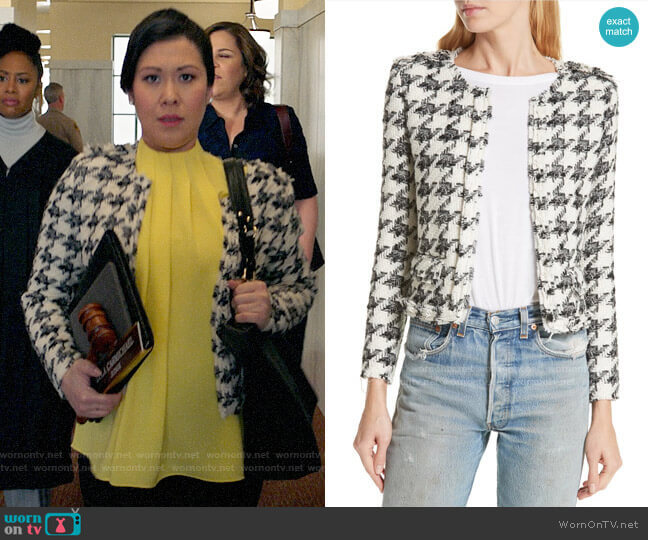 IRO Houndstooth Tweed Jacket worn by Sherri Kansky (Ruthie Ann Miles) on All Rise