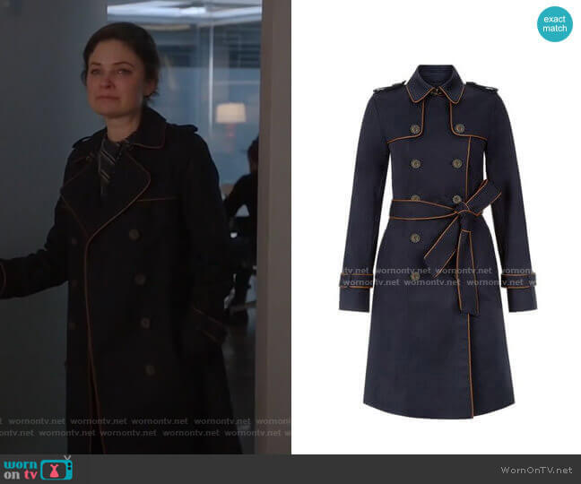 Hobbs London Imogen Piped Trench Coat worn by Taylor Rentzel (MacKenzie Meehan) on Bull