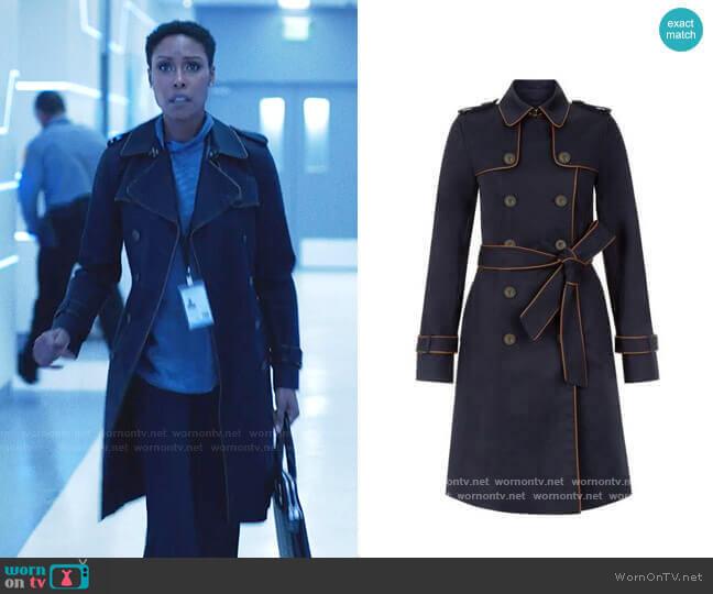 Hobbs London Imogen Piped Trench Coat worn by Lynn Stewart (Christine Adams) on Black Lightning