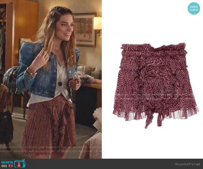 Pleated Chiffon Silk Melissa Skirt In Rust by Isabel Marant worn by Alexis Rose (Annie Murphy) on Schitts Creek
