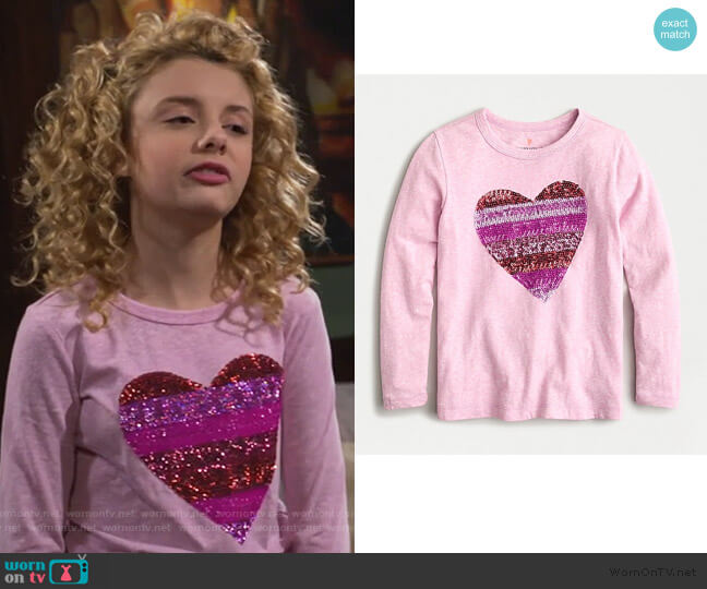 Long-sleeve T-shirt in Sequin Heart by J. Crew worn by Destiny Baker (Mallory James Mahoney) on Bunkd