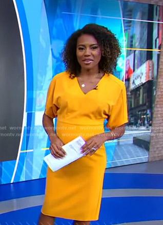 Janai's orange v-neck dress on Good Morning America