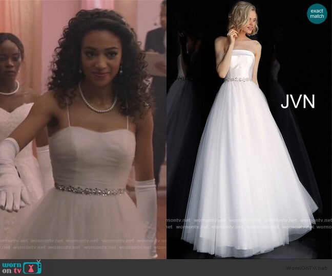 JVN66687 Strapless Embellished Belt Prom Ballgown by Jovani worn by Olivia Baker (Samantha Logan) on All American