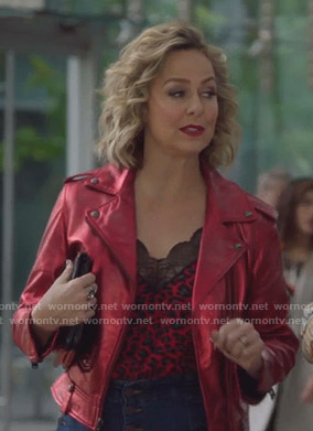 Jacqueline's red leopard cami and metallic moto jacket on The Bold Type