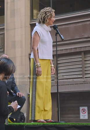 Jacqueline's yellow side embroidered pants on The Bold Type