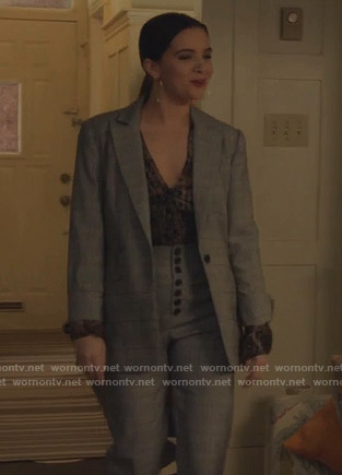 Jane's grey plaid suit on The Bold Type