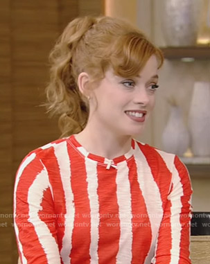 Jane Levy's red and white stripe top on Live with Kelly and Ryan