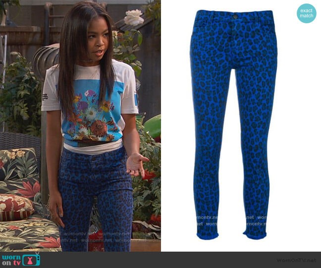 Leopard Print Jeans by J Brand worn by Tess O'Malley (Sky Katz) on Ravens Home