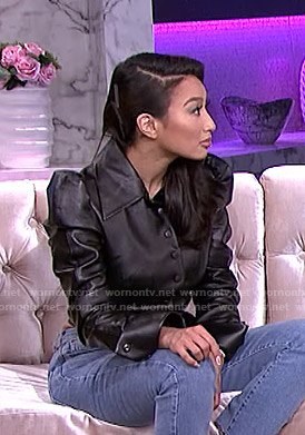 Jeannie's black leather puff sleeve jacket on The Real