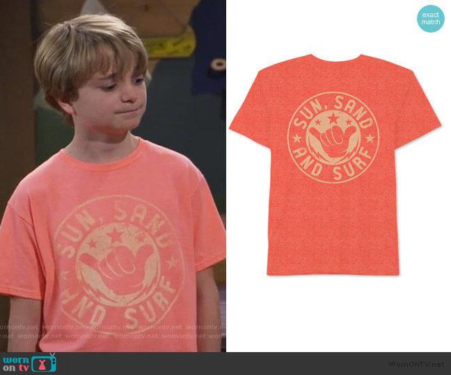 Big Boys Sun Sand Surf T-Shirt by Jem worn by Finn Sawyer (Will Buie Jr) on Bunkd