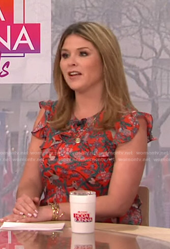 Jenna's red printed ruffle dress on Today