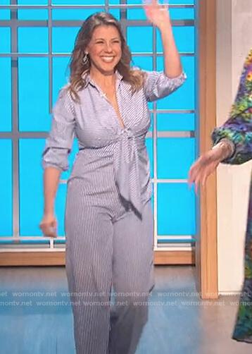 Jodie Sweetin's stripe tie jumpsuit on The Talk