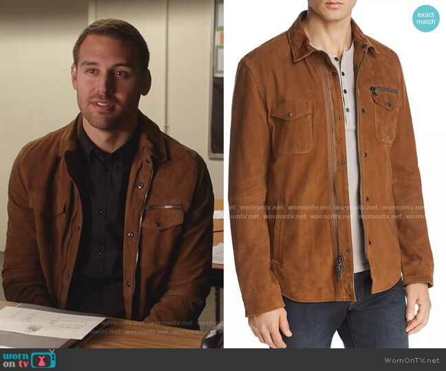 Camel Shilo Suede Jacket by John Varvatos Star USA worn by Ryan Guzman on  9-1-1