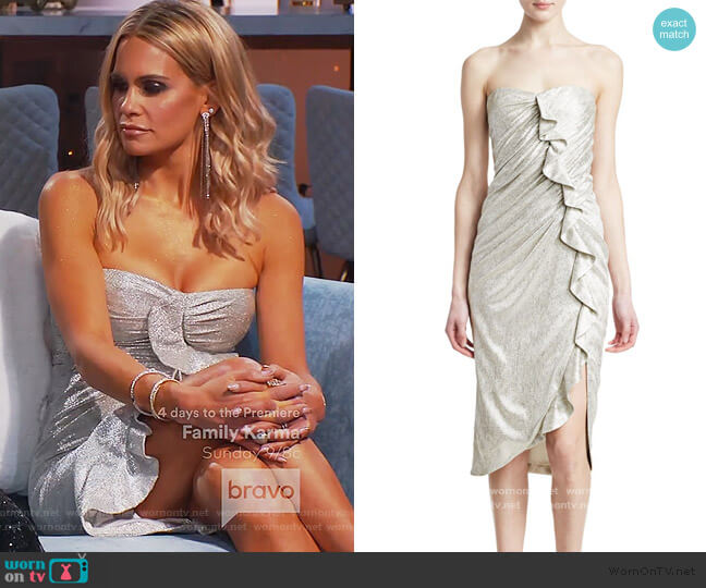 Plisse Lamé Ruffled Bustier Dress by Jonathan Simkhai worn by Jackie Goldschneider  on The Real Housewives of New Jersey
