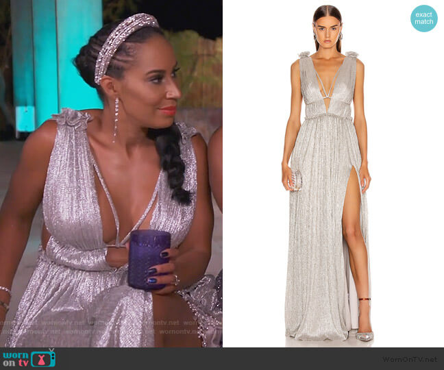 Plisse Lame Maxi Dress by Jonathan Simkhai worn by Tanya Sam on The Real Housewives of Atlanta