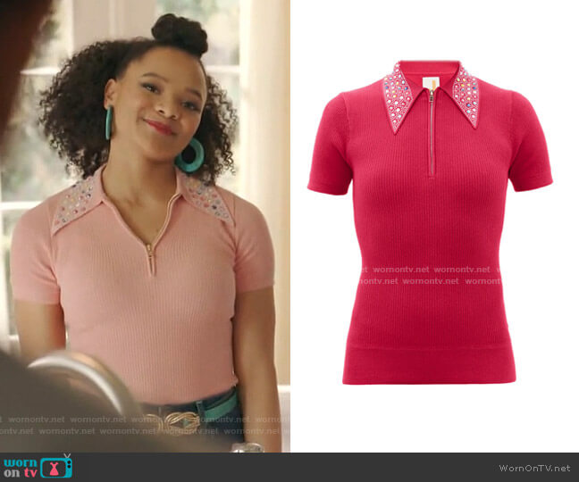 Polo with Swarovski Crystals Collar by JoosTricot  worn by Vanessa (Jade Payton) on Dynasty