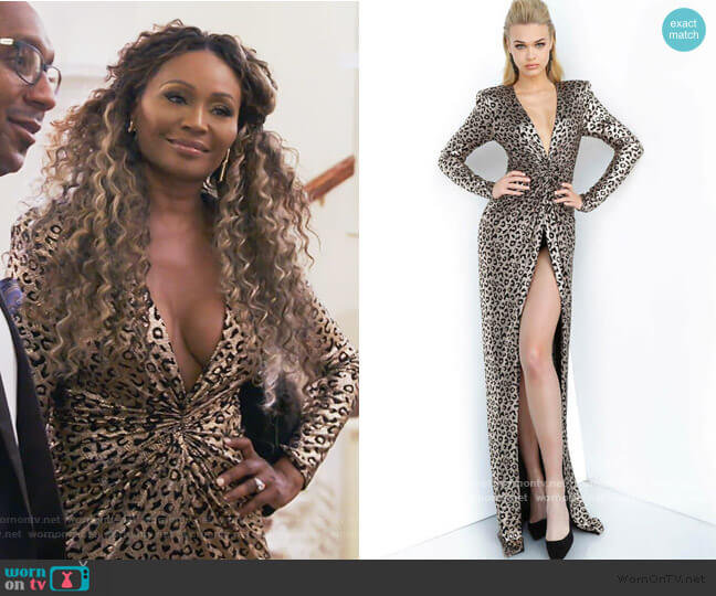 Print Ruched Bodice Prom 3171 Dress by Jovani  worn by Cynthia Bailey  on The Real Housewives of Atlanta