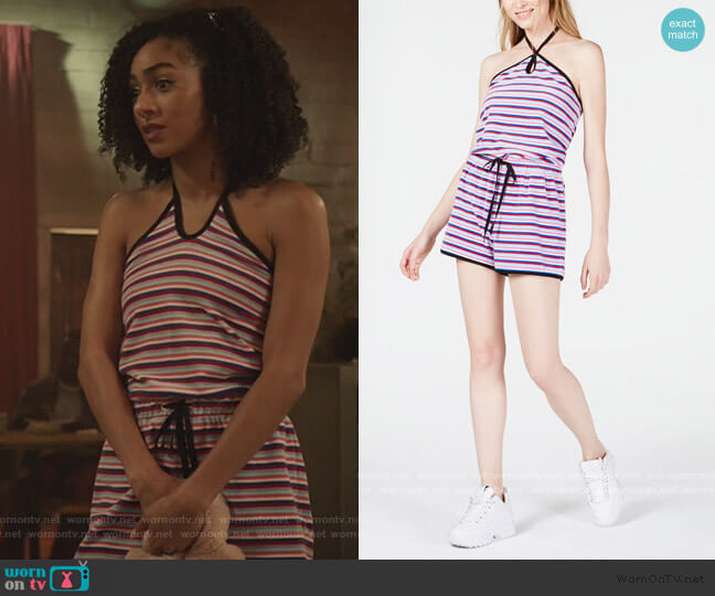 Striped Halter Romper by Juicy Couture worn by Patience (Chelsea Tavares) on All American