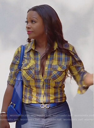 Kandi's yellow plaid shirt on The Real Housewives of Atlanta