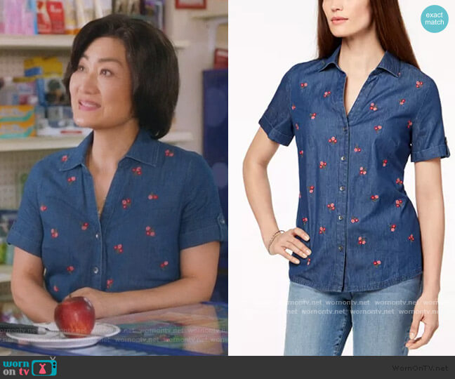 Floral-Embroidered Short-Sleeve Shirt by Karen Scott worn by Mrs Kim (Jean Yoon) on Kims Convenience