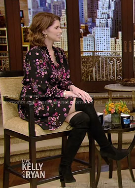 Katherine Schwarzenegger's black floral dress on Live with Kelly and Ryan