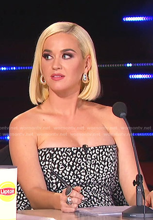 Katy Perry's black leopard strapless top on American Idol