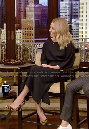 Kelly's black midi dress on Live with Kelly and Ryan