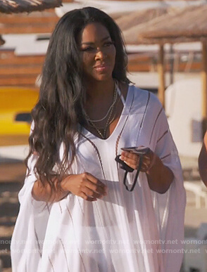 Kenya's white lace trim Caftan on The Real Housewives of Atlanta