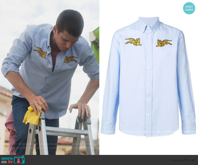 Jumping Tiger button-down shirt by Kenzo worn by Guzman (Miguel Bernardeau) on Elite