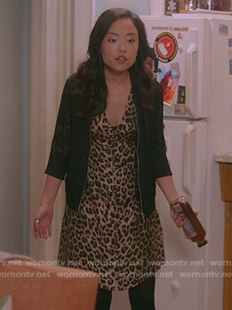 Janet's leopard print button down dress on Kims Convenience
