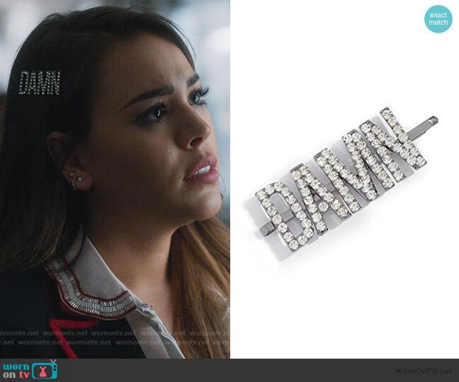 x Justine Marjan Damn Rhinestone Bobby Pin by Kitsch worn by Lucrecia Motesinos (Danna Paola) on Elite