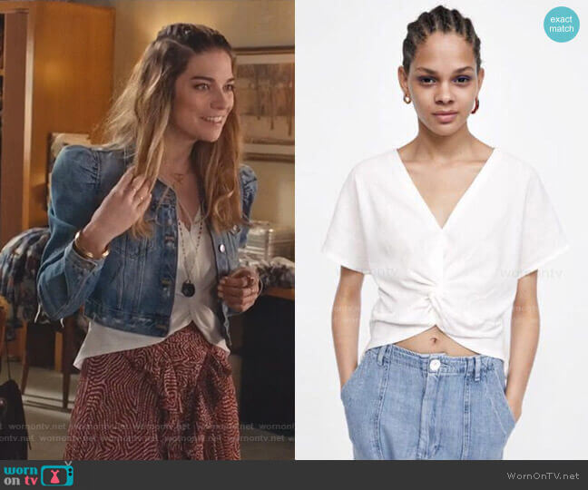 Knot Front Top by Zara worn by Alexis Rose (Annie Murphy) on Schitts Creek