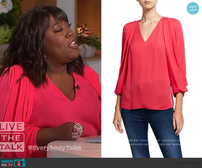Camryn V-Neck Draped Sleeve Silk Blouse by Kobi Halperin worn by Sheryl Underwood  on The Talk