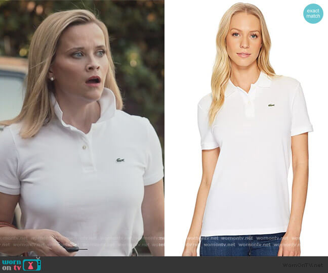 Short Sleeve Two-Button Classic Fit Pique Polo by Lacoste worn by Elena Richardson (Reese Witherspoon) on Little Fires Everywhere