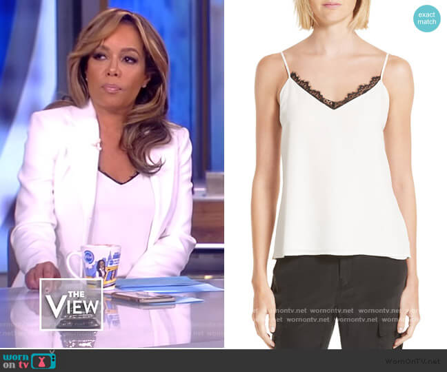 Lia Lace Trim Silk Camisole by L'Agence worn by Sunny Hostin  on The View
