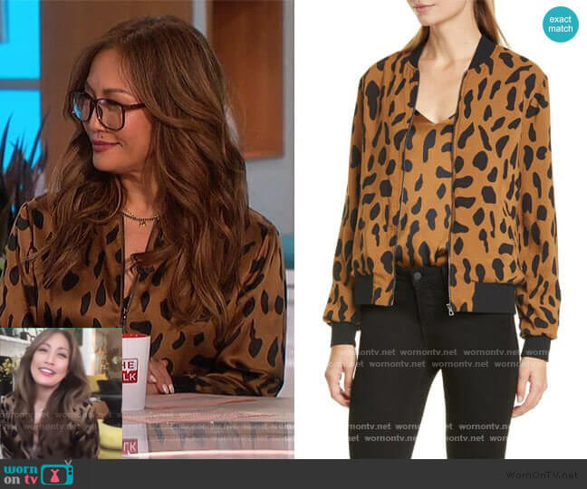 Ollie Printed Silk Bomber Jacket by L'Agence worn by Carrie Inaba  on The Talk