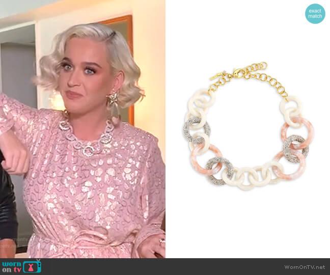 Crystal & Acetate Triple Hoop Necklace by Lele Sadoughi worn by Katy Perry  on American Idol