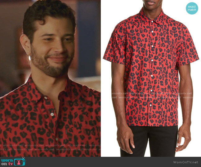 Leopard Short Sleeve Button-Up Shirt by Ovadia & Sons worn by Sam Flores (Rafael de la Fuente) on Dynasty