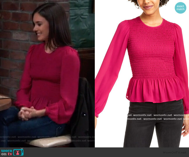Smocked Peplum Blouse by Leyden worn by Willow Tait (Katelyn MacMullen) on General Hospital