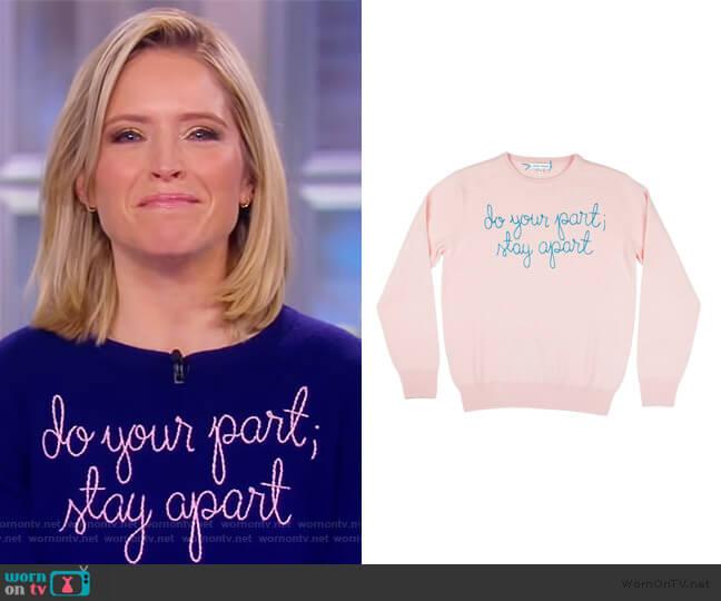 do your part; stay apart sweater by Lingua Franca worn by Sara Haines  on The View
