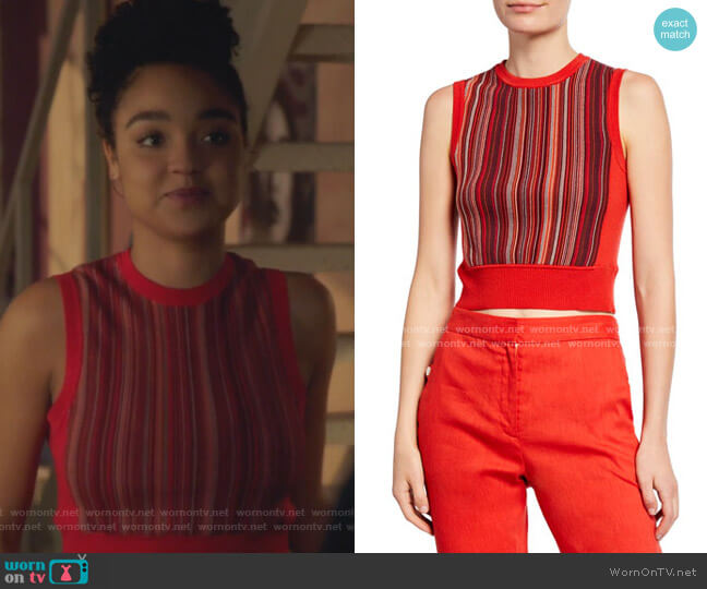 Lisse Striped Crop Tank Top by Rag & Bone worn by Kat Edison (Aisha Dee) on The Bold Type