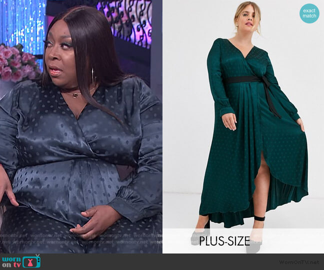 Plus Satin Wrap Dress by Little Mistress worn by Loni Love  on The Real
